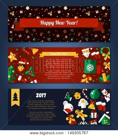 Merry Christmas and Happy New Year flat design modern vector banners set illustration with Santa Claus, X-Mas tree, wreath and other holiday symbols