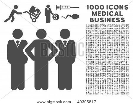 Gray Team icon with 1000 medical business glyph design elements. Set style is flat symbols, gray color, white background.