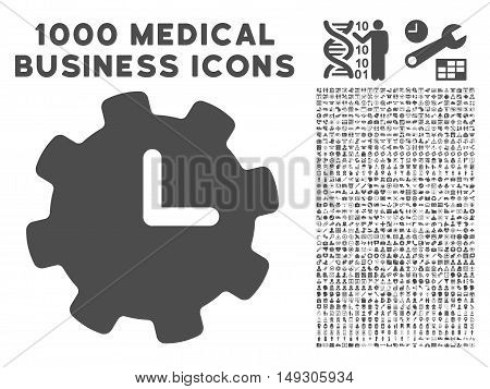 Gray Time Settings icon with 1000 medical business glyph pictograms. Set style is flat symbols, gray color, white background.