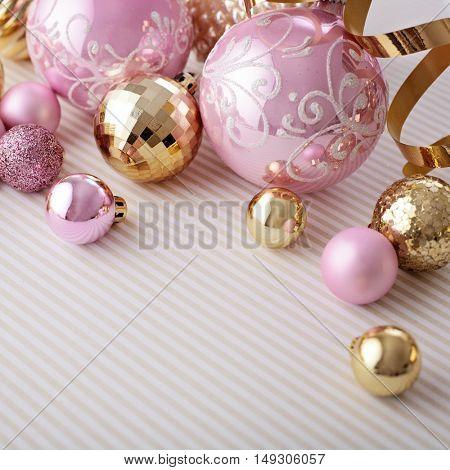 christmas ornaments, seasonal decoration, copy space