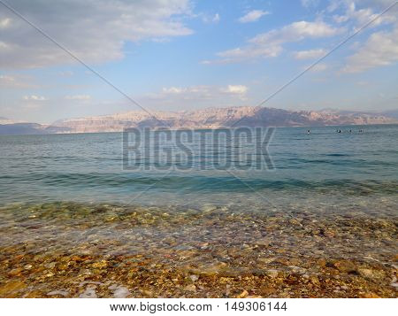 Shore of the Dead sea in Israel