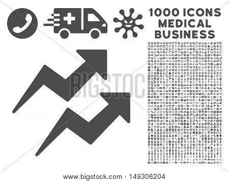 Gray Trends icon with 1000 medical business glyph pictographs. Collection style is flat symbols, gray color, white background.