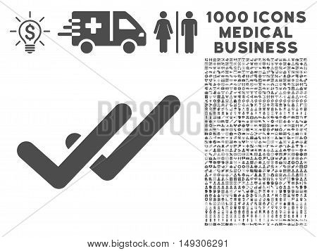 Gray Validation icon with 1000 medical business glyph pictograms. Set style is flat symbols, gray color, white background.