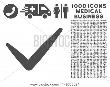Gray Valid icon with 1000 medical business glyph pictographs. Set style is flat symbols, gray color, white background.