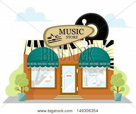 Facade music store with a signboard awning and products in shopwindow. image in a flat design. Concept front shop for design brochure or banner. Vector illustration isolated on white background
