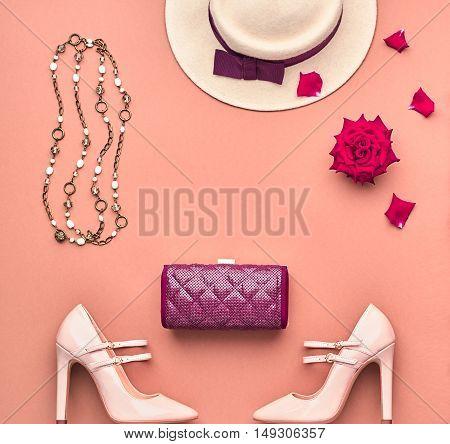 Fashion Lady Accessories Set. Trendy fashion Design. Fashion Stylish Handbag Clutch, Glamor Heels, Hat. Rose. Top view. Fall Fashion. Woman Outfit. Vintage. Elegant Creative Overhead. Minimal Concept