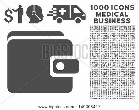Gray Wallet icon with 1000 medical business glyph pictographs. Design style is flat symbols, gray color, white background.