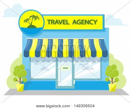 Facade travel agency. Signboard with emblem awning and symbol in windows. Concept front shop for design banner or brochure. image in a flat design. Vector illustration isolated on white background