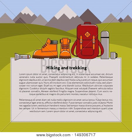 Vector background on the theme of hiking and trekking. Elements of tourist equipment on the background of mountains.