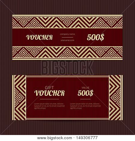 Gift voucher with luxury elegant design. Coupon discount template.