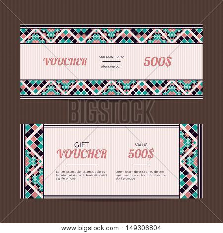 Gift voucher with geometric elegant design. Coupon template.