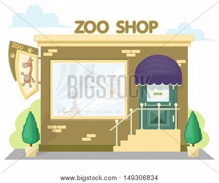 Facade zoo shop. Signboard with emblem giraffe awning and symbol in windows. Concept front shop for design banner or brochure. image in a flat design. Vector illustration isolated on white background