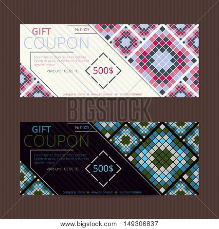 Gift voucher with geometric elegant design. Coupon discount.
