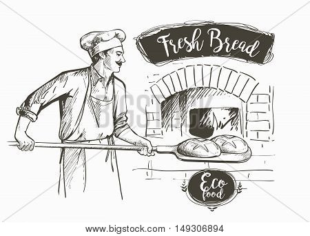 baker in uniform taking out with shovel baked bread from the oven vector illustration