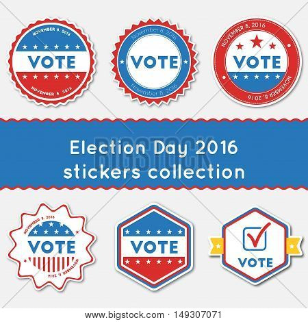 Election Day 2016 Stickers Collection. Buttons Set For Usa Presidential Elections 2016. Collection O