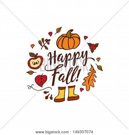 Hand drawn autumn elements with pumpkin, hearts and happy fall inscription in center on white background