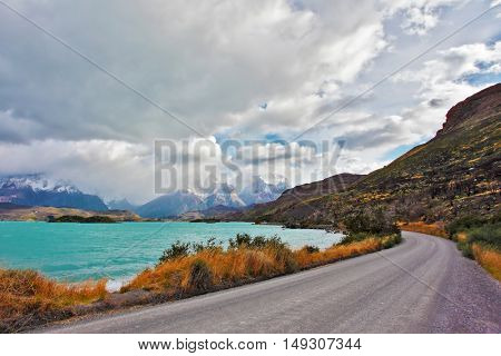 Beautiful Patagonia. Park Torres del Paine in southern Chile. The road around the lake Pehoe