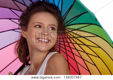 Smiling Young Brunette Woman In White Blouse With Umbrella