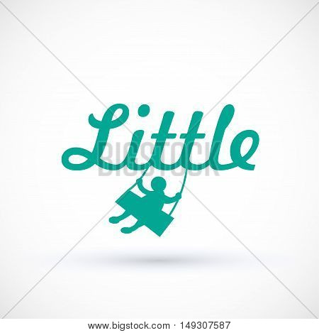Symbol child swinging on a swing Vector baby logo