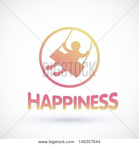 Symbol happiness child swinging on a swing Vector baby logo