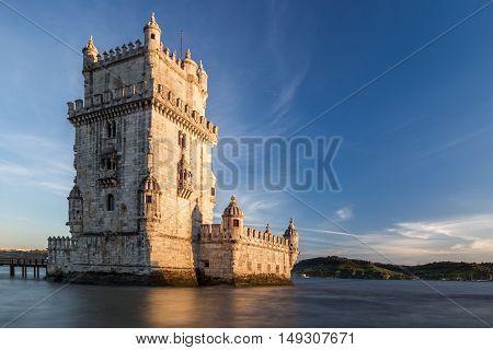 Torre of Belem at sunset, famouse landmark of Lisbon, Portugal,