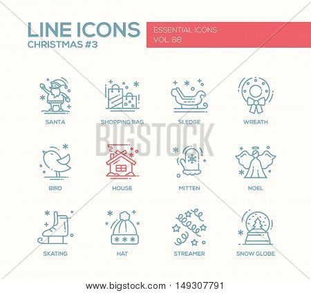 Christmas and New Year - set of modern vector simple line design icons and pictograms. Santa, shopping bag, sledge, wreath, house, bird, mitten. noel, skating, streamer, hat snow globe