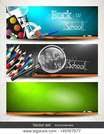 Set of three horizontal banners with school supplies on the chalkboard