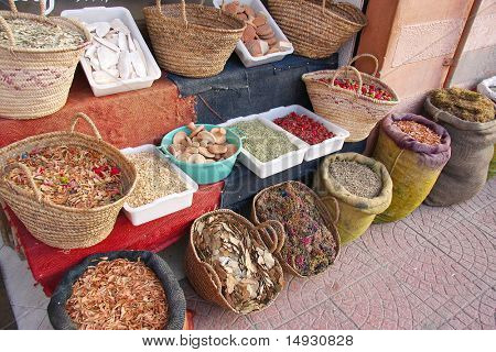 Assorted herbs, spices, odds and ends, in Moroccan market