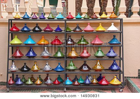 Traditional Moroccan craftsmanship, brightly painted ceramic pots