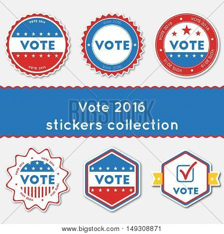 Vote 2016 Stickers Collection. Buttons Set For Usa Presidential Elections 2016. Collection Of Blue A