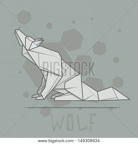 Vector simple illustration paper origami of wolf.