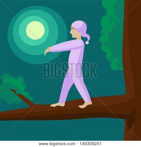 Man sleepwalker on tree. Colorful hand drawn cartoon vector illustration