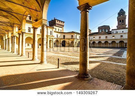 etails of Palazzo Ducale on Piazza Castello in Mantua - Italy