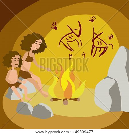 Primeval woman with child in cave. Colorful hand drawn cartoon vector illustration