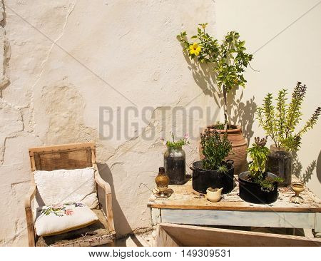 the village of Crete patio with the household goods on the street