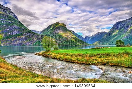 Oppstrynsvatn lake at Oppstryn village, Sogn og Fjordane county, Norway