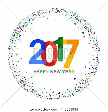 Happy New Year 2017 celebration background. Colorful paper typeface on backdrop with confetti on white. Greeting card template. Vector illustration.