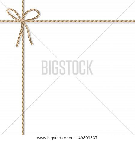 Abstract white background tied up with rope bakers twine bow and ribbons