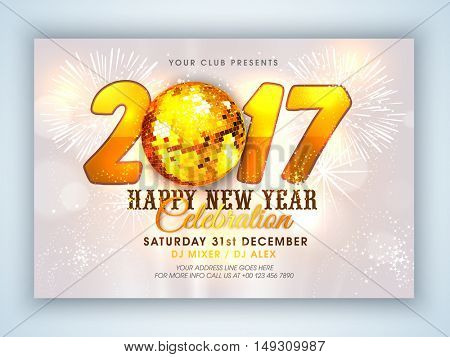 Elegant New Year's Eve Party Celebration Flyer, Banner, Pamphlet or Invitation with golden Disco Ball.