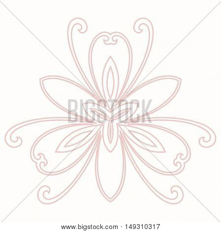 Floral pattern with fine arabesques. Abstract oriental ornament. Light pink pattern