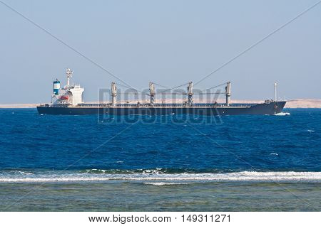 Bulk Carrier Ship in the Red Sea