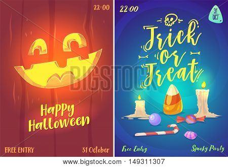 Halloween illustration pumpkin face and sweets . Vector set of happy halloween vintage badges, logos emblems and labels. Vector stock illustration.