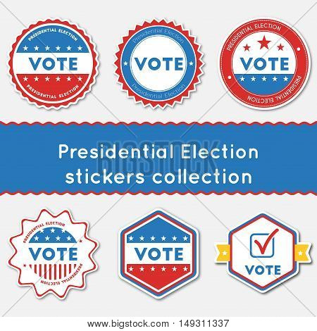Presidential Election Stickers Collection. Buttons Set For Usa Presidential Elections 2016. Collecti