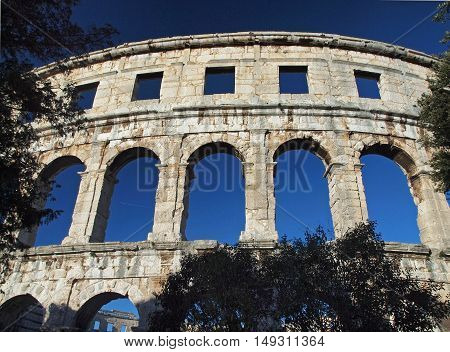 Wall fragment of amphitheatre in city Pula in Croatia