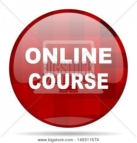 online course red round glossy modern design web icon