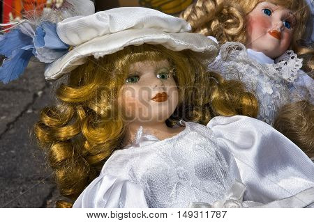 Innocent eyes of a porcelain doll-girl toy
