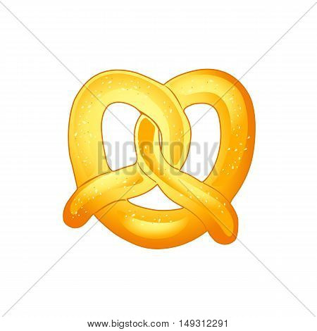 Pretzel isolated on white. Vector Illustration, Hand Drawn. A crisp biscuit baked for Oktoberfest traditional beer festival in Germany. Food, crisp biscuit baked in the form of a knot flavored with salt.