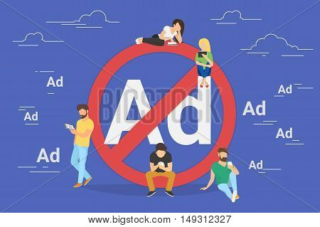 Mobile ad prohibition concept illustration of young people using mobile gadgets for networking and using internet without ads. Flat design of guys and women standing near big red sign