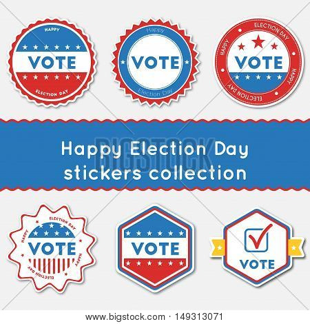 Happy Election Day Stickers Collection. Buttons Set For Usa Presidential Elections 2016. Collection