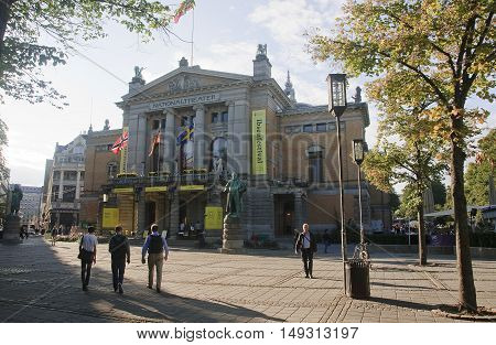 Oslo, Norway - September 16, 2016: Oslo  Nationaltheatret (the N